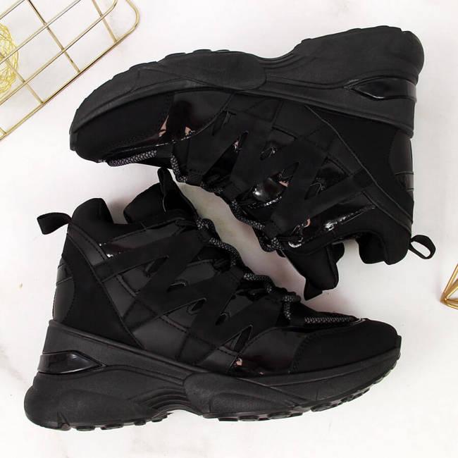 Sneakersy damskie na koturnie czarne Potocki