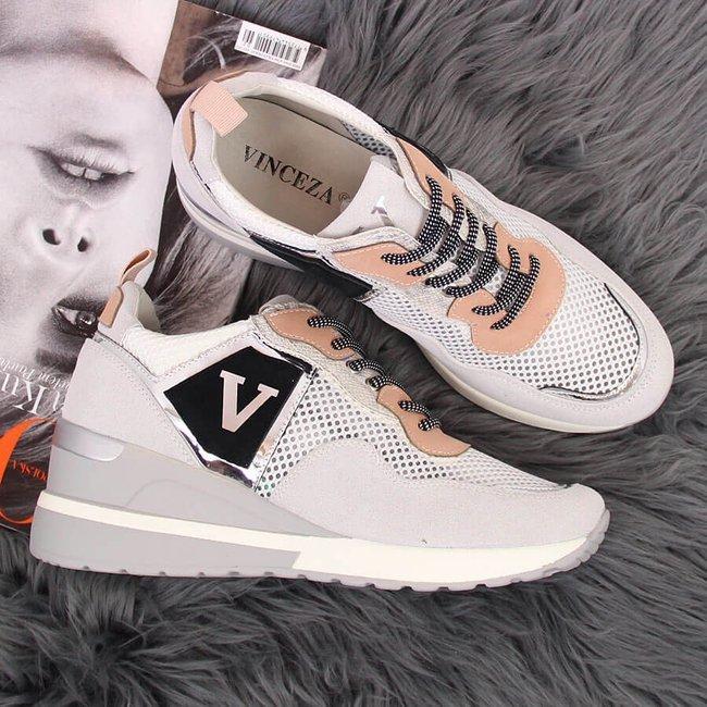Sneakersy damskie na koturnie szare Vinceza
