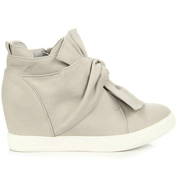 Sneakersy damskie na koturnie z kokardą szare Seastar