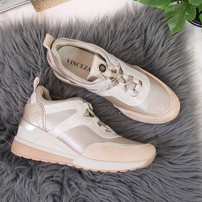 Sneakersy damskie na koturnie złote Vinceza