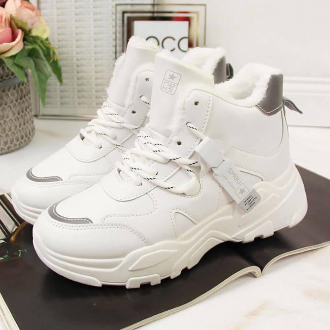 Sneakersy damskie ocieplane na grubej podeszwie białe NEWS