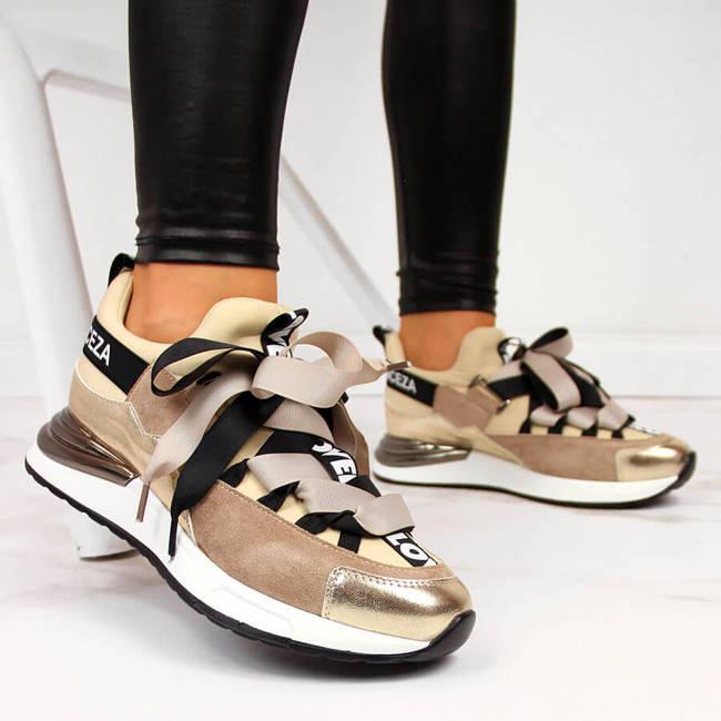 Sneakersy damskie z napisami beżowe Vinceza