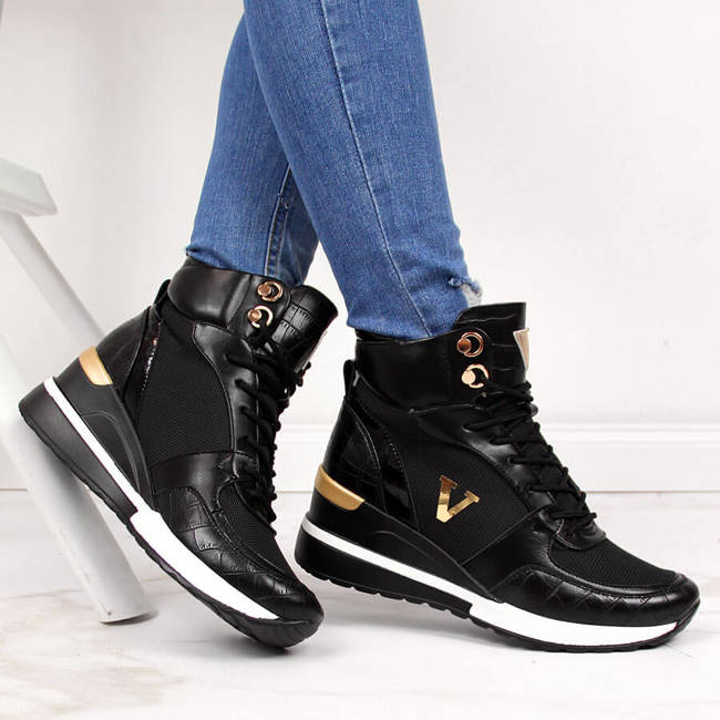 Sneakersy damskie za kostkę nieocieplane czarne Vinceza