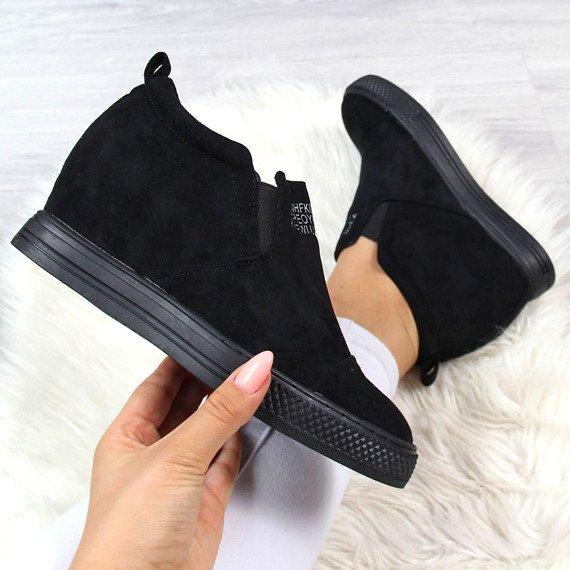 Sneakersy na koturnie trampki czarne Lu Boo