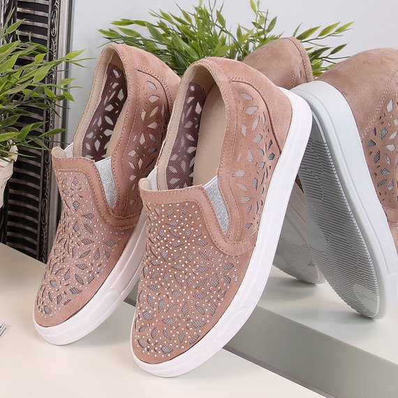 Sneakersy półbuty na koturnie ażurowe brudny róż Jezzi