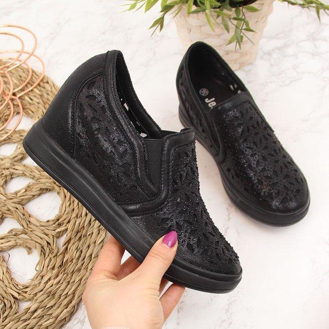 Sneakersy półbuty na koturnie ażurowe czarne Jezzi