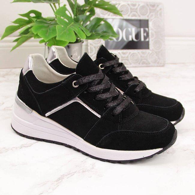 Sneakersy skórzane damskie na koturnie czarne Filippo