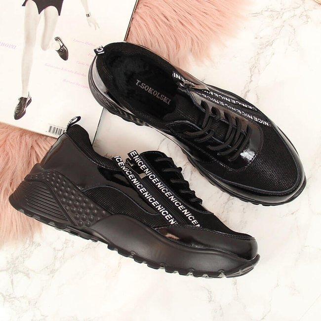Sneakersy skórzane damskie na koturnie czarne T.Sokolski