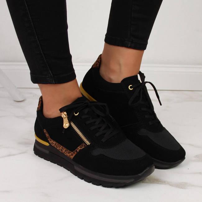 Sneakersy skórzane damskie na zamek czarne Rieker N7809-00