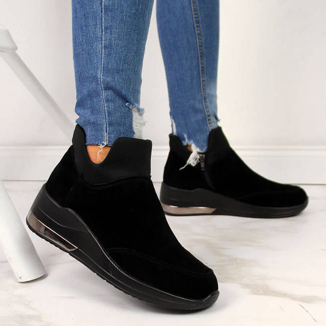Sneakersy skórzane damskie ocieplane czarne FIlippo