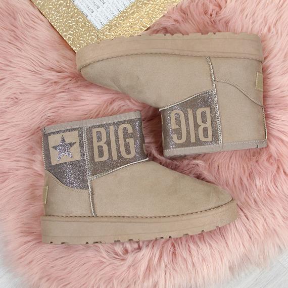 Śniegowce damskie mukluki beżowe Big Star