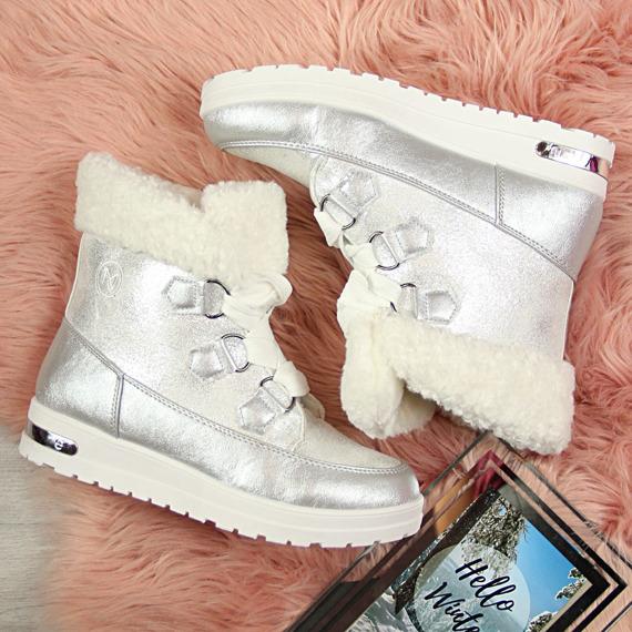 Śniegowce damskie sznurowane srebrne McKeylor