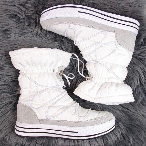Śniegowce damskie wsuwane białe DK