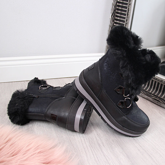 Śniegowce dziewczęce z futerkiem czarne McKeylor