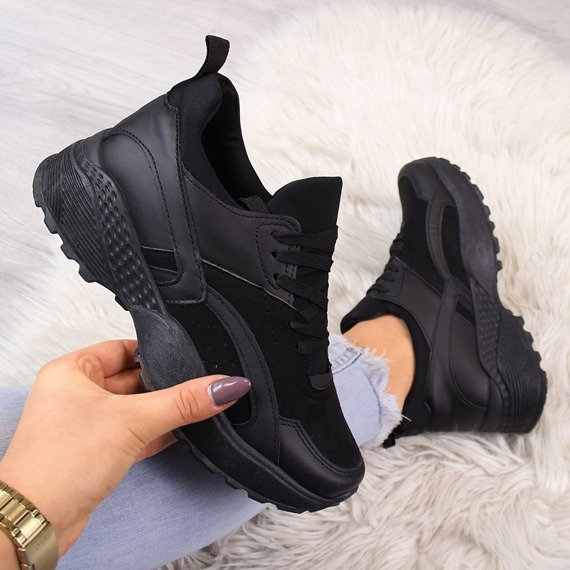 Sportowe buty damskie na grubej podeszwie czarne McKeylor