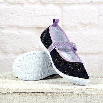 Tenisówki dziewczęce granatowo-fioletowe baleriny Hasby