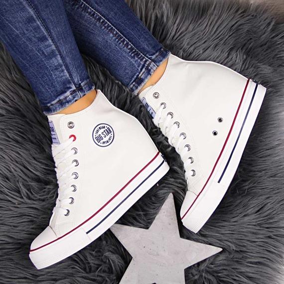 Trampki damskie na koturnie białe Big Star EE274616