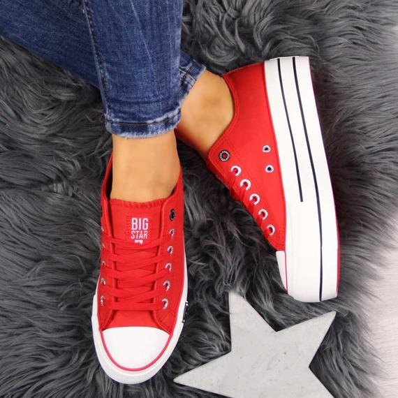 Trampki damskie na platformie czerwone Big Star