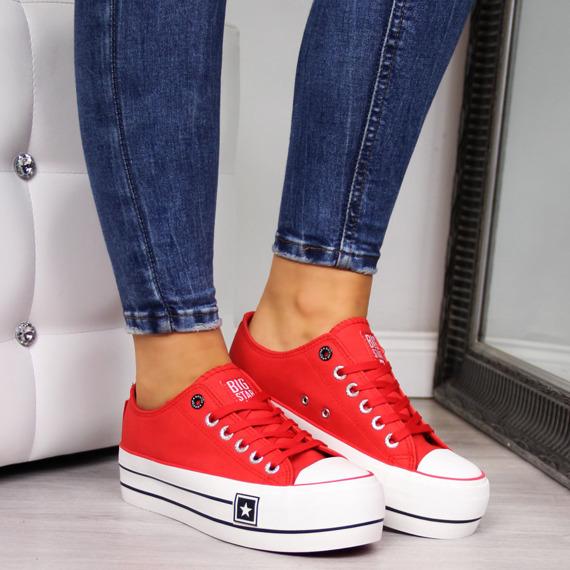 Trampki damskie na platformie czerwone Big Star EE274580