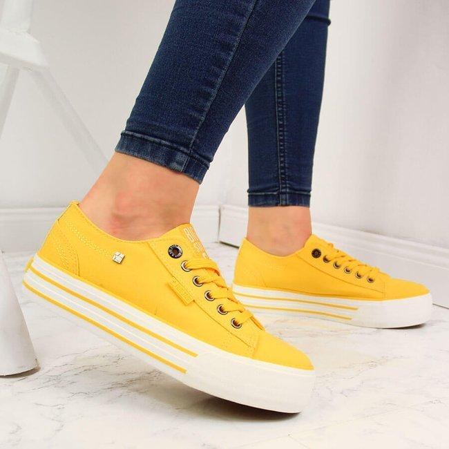 Trampki damskie na platformie żółte Big Star HH274055