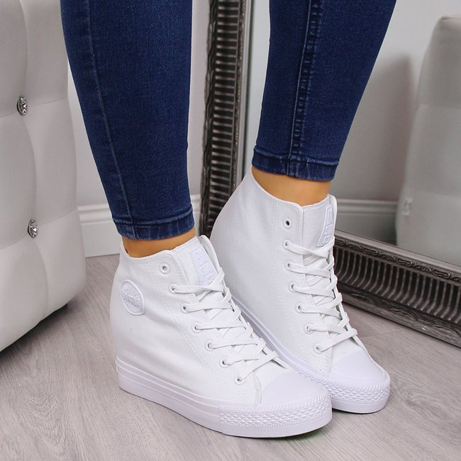 Trampki na koturnie sneakersy białe Big Star FF274A192