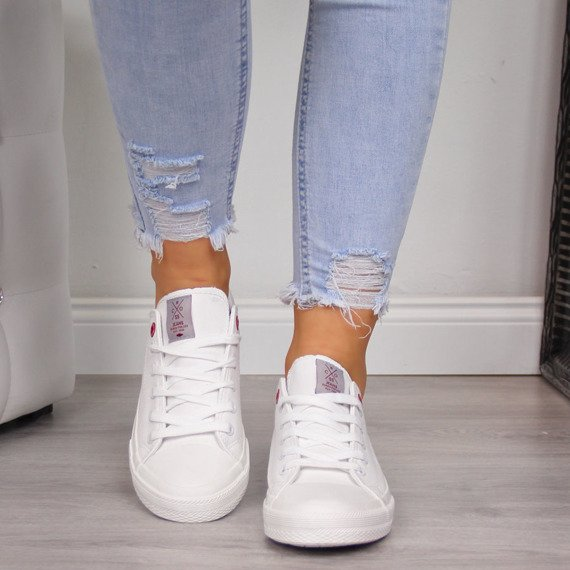 Trampki niskie eko skóra białe Cross Jeans
