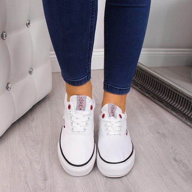 Trampki niskie na grubej podeszwie białe Cross Jeans FF2R4001C
