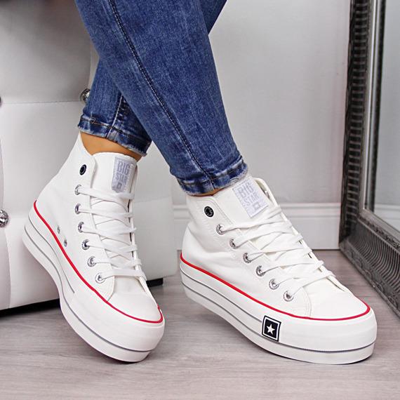 Trampki wysokie na platformie białe Big Star EE274583
