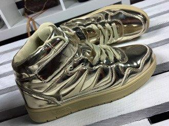 Złote buty sportowe damskie wysokie lakierowane Lu Boo